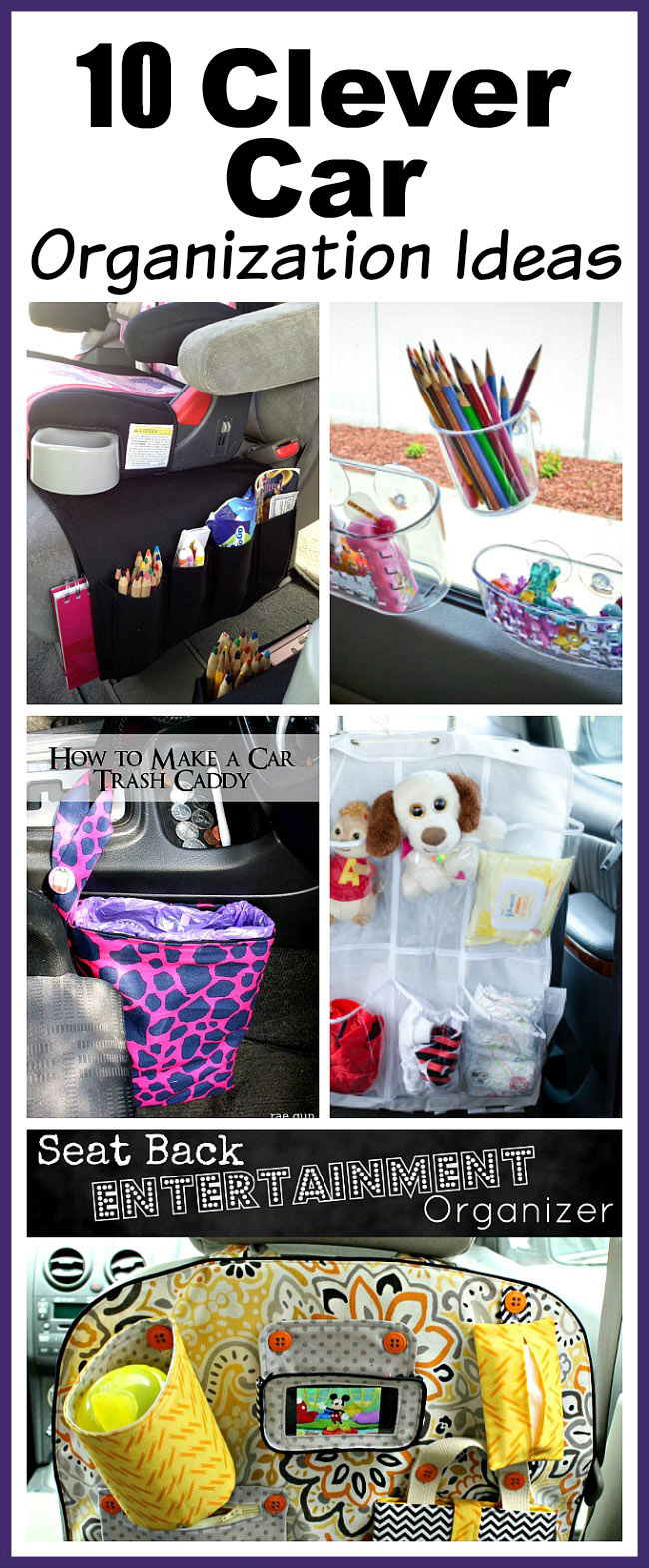 10 Clever Car Organization Ideas- You don't need to buy any fancy organizers to keep your car neat! Here are 10 clever (and inexpensive) car organization ideas! | car organizer, kids car organization ideas, backseat organizer, seat back organizer, DIY organization, easy organization, vehicle organizer, DIY car trash can, how to organize your car #organizingTips #carOrganization #organize #organization #ACultivatedNest
