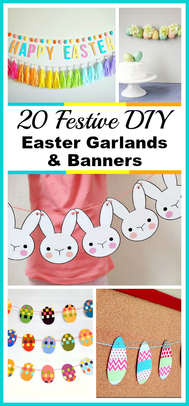 20 Festive DIY Easter Garlands and Banners- You can decorate your home for Easter the frugal way by making one of these DIY Easter garlands and banners! There are many different kinds to choose from! | DIY project, Easter decorations, printable decor, spring, rabbit, bunny, eggs, colorful, rainbow, craft, easy DIY, seasonal decor, holiday decor
