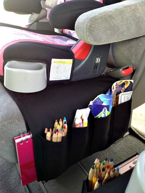 10 Clever DIY Car Organizing Solutions- Tired of your car being unorganized? Getting it neat and tidy with these clever car organizing hacks and DIYs! | how to organize your car when you have kids, car organization DIYs, car organizing tips, #organizing #carOrganization #organization #organizingTips #ACultivatedNest