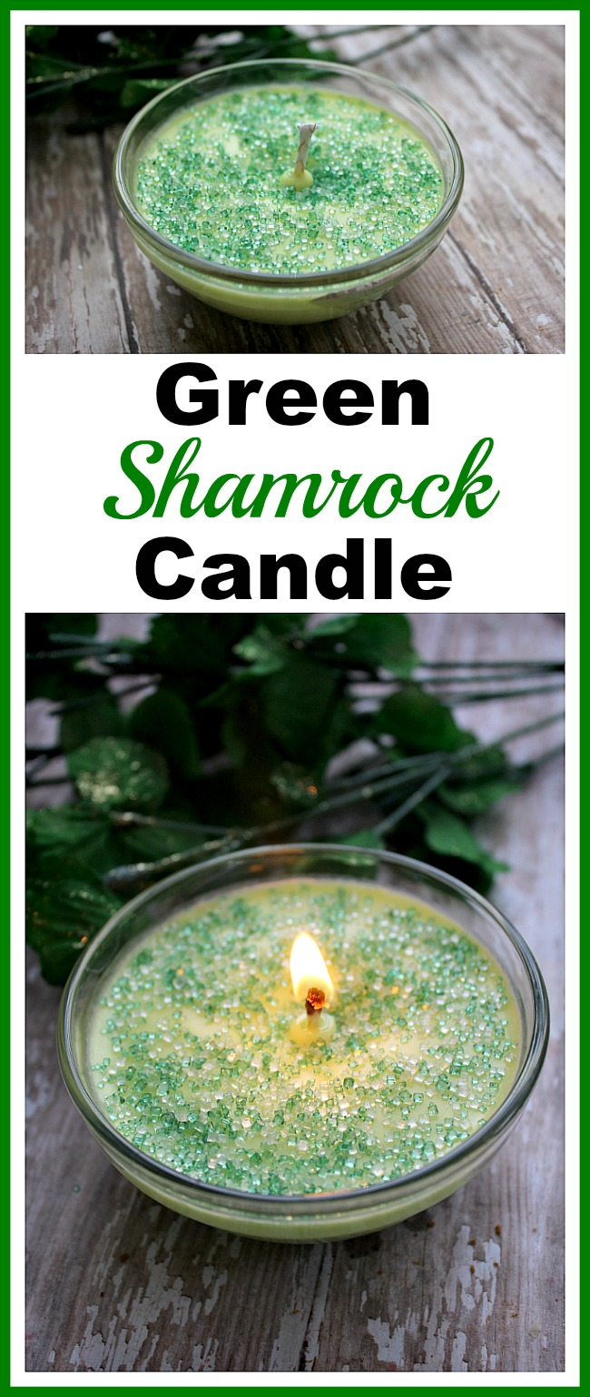 DIY Green Shamrock Candle- Making your own homemade candles is fun and easy! For a pretty green spring-themed candle, check out my simple DIY green shamrock candle tutorial! | craft, homemade candle, make your own candles, DIY soy candle, green, St. Patrick's Day, Saint Patrick's Day, St. Patty's Day, homemade gift ideas, DIY present, essential oil scented