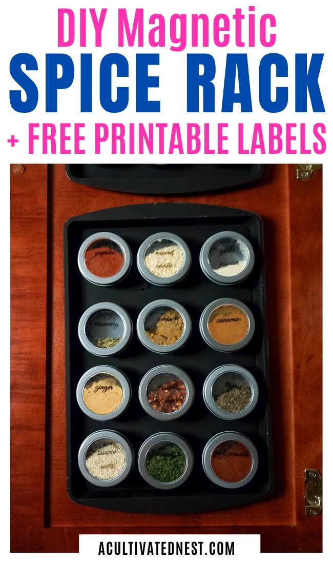 DIY Magnetic Dollar Store Spice Rack- An easy way to get your spices organized when you have limited space is to make this clever DIY magnetic dollar store spice rack! There are also free printable labels for you to use! | #homeOrganization #kitchenOrganization #organizingTIps #organizing #ACultivatedNest