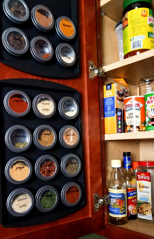 DIY Magnetic Dollar Store Spice Rack- If your spice cabinet is disorganized, you need to try this easy (and frugal) DIY organizer! Here's how to make a magnetic dollar store spice rack! | dollar store DIY, Dollar Tree DIY, organizing ideas, kitchen organizing tips, easy DIY, spice organization, how to organize your spices, inexpensive organization solutions