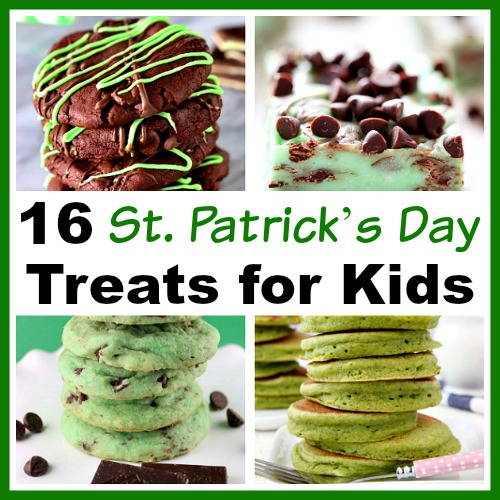 16 Delicious St. Patrick's Day Treats for Kids- Not all Saint Patrick's Day foods have to include alcohol! For some family-friendly recipes, check out these 16 St. Patrick's Day treats for kids! | recipe, kid-friendly, St. Patty's Day, green colored food, green colored desserts, green pancakes, green cookies, food for kids
