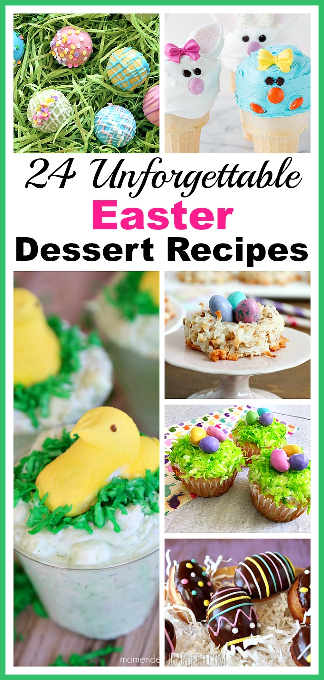 24 Unforgettable Easter Dessert Recipes- Trying to decide on a delicious dessert to serve this Easter? Why not try one (or a few!) of these unforgettable Easter dessert recipes! | spring, food, chick, chicken, bunny, rabbit, nest, eggs, party, treat, cupcakes, brownies, cookies