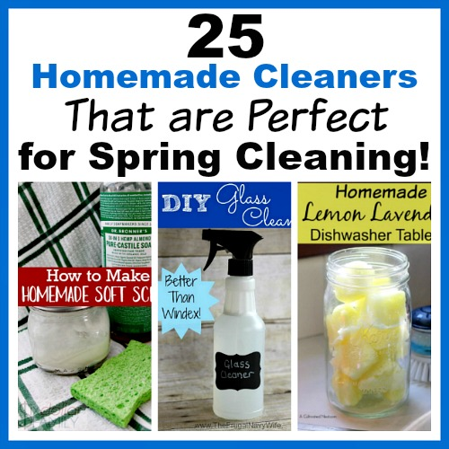 25 Homemade Cleaners That are Perfect for Spring Cleaning- If you want to save money and clean your home naturally when you spring clean this year, you need these homemade cleaners! This list has DIY cleaner recipes for virtually everything! | #diyCleaner #homemadeCleaner #naturalCleaning #cleaning #ACultivatedNest