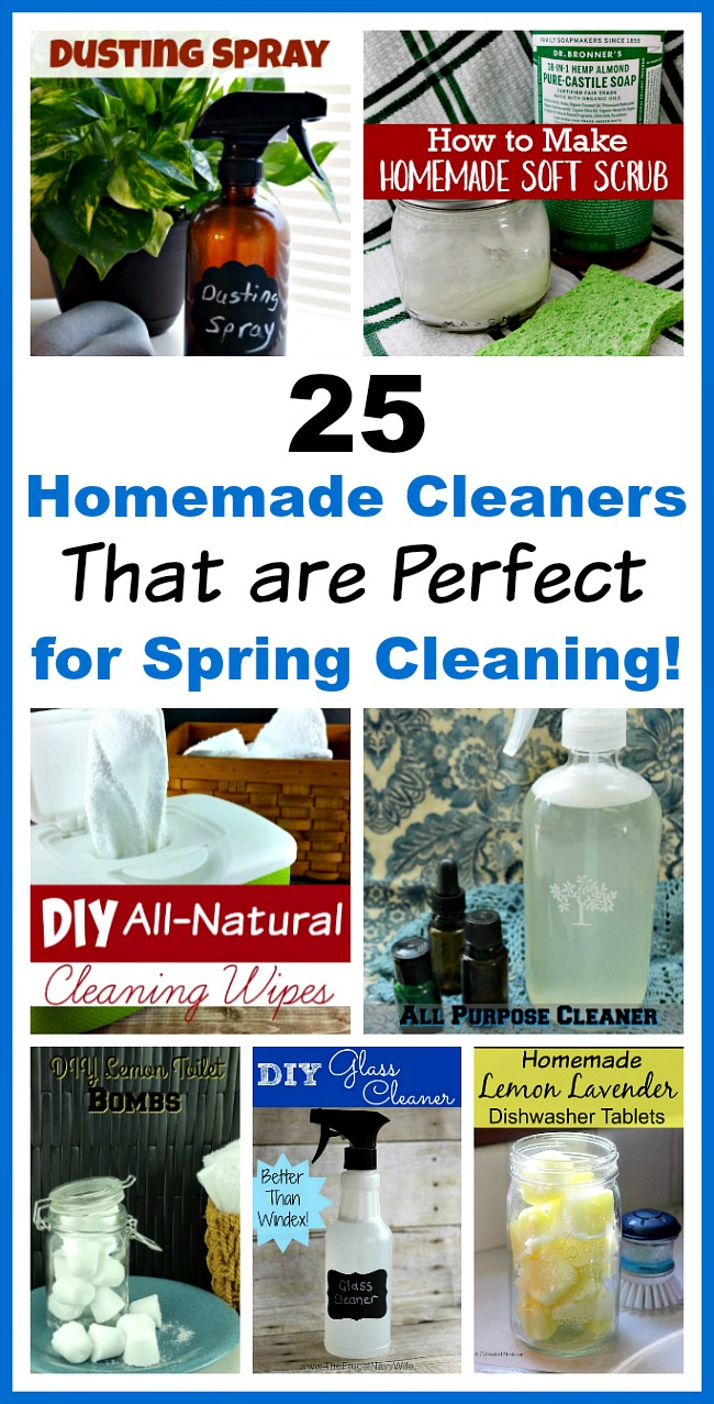 25 Homemade Cleaners That are Perfect for Spring Cleaning!- Save money and have a chemical-free spring cleaning this year by making some homemade cleaners! This list includes DIY cleaners for virtually everything! | homemade cleaning products, cleaning product recipes, glass cleaner, dusting spray, all-purpose cleaner, toilet cleaning bombs, dishwasher tablets