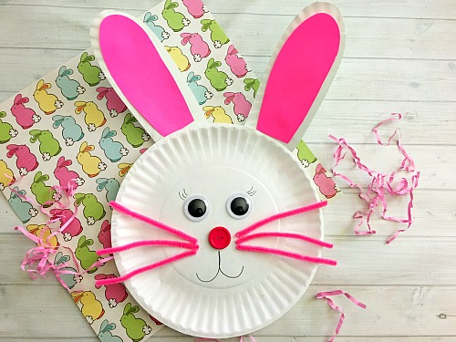 Cute Bunny Paper Plate Craft for Kids- Paper plate crafts are an inexpensive and fun & Cute Bunny Paper Plate Craft for Kids- Fun Easter Kids Craft!