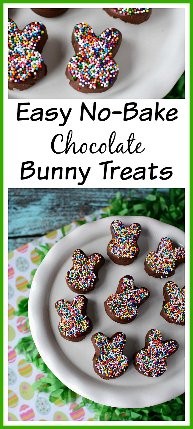 Easy No-Bake Chocolate Bunny Treats- If you want a quick and chocolaty spring/Easter dessert, you have to make these easy no-bake chocolate bunny treats! These would be great for a party! | dessert, recipe, food, rabbit, bunny silhouette, sprinkles, colorful, Easter, spring, easy recipe, quick recipe, cute