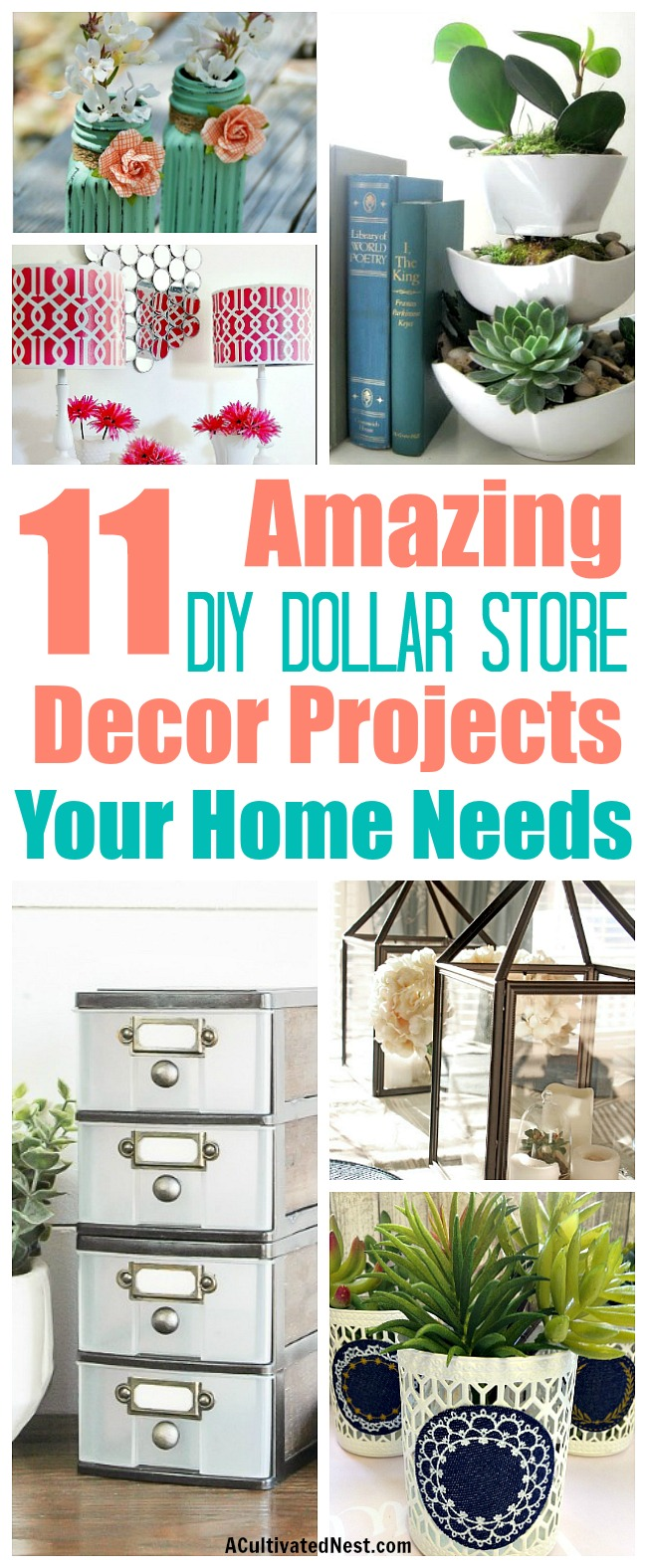 DIY Dollar Store Decorating Ideas- It's possible to have a beautiful home on a budget! Check out these brilliant DIY Dollar Store Home Decorating Projects! After all, it doesn't get much cheaper than the dollar store. You won't believe that these beautiful projects started out as dollar store items! | DIY home decorating ideas, decorating on a budget #diy #decor #dollarStore #craft