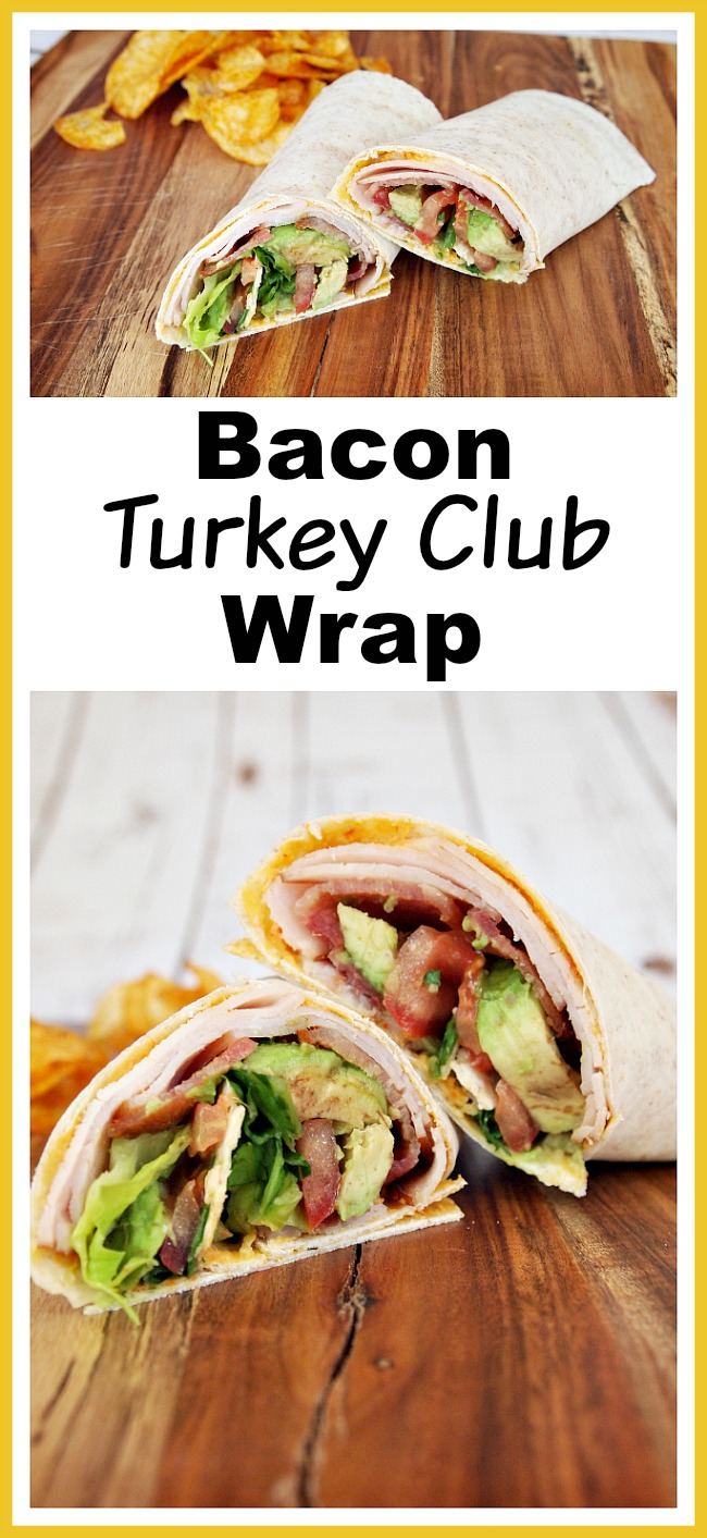 Bacon Turkey Club Wrap- Wraps are like healthier versions of sandwiches, and make easy lunches! Here's how to make a delicious bacon turkey club wrap with avocado! | no mayonnaise, mayonnaise free, quick lunch, fast lunch, bacon, turkey, avocado, easy recipe