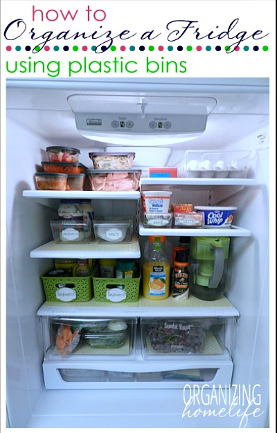 How to Organize a Fridge with Bins- You don't need a bigger fridge, you just need to reorganize the one you have! Check out these clever refrigerator organizing ideas and gain fridge space! | DIY home organization, organize your home, organizing tips, kitchen organization, how to organize your fridge, #organization #organizing #organize #homeOrganization #kitchen #refrigerator #organizingTips #ACultivatedNest