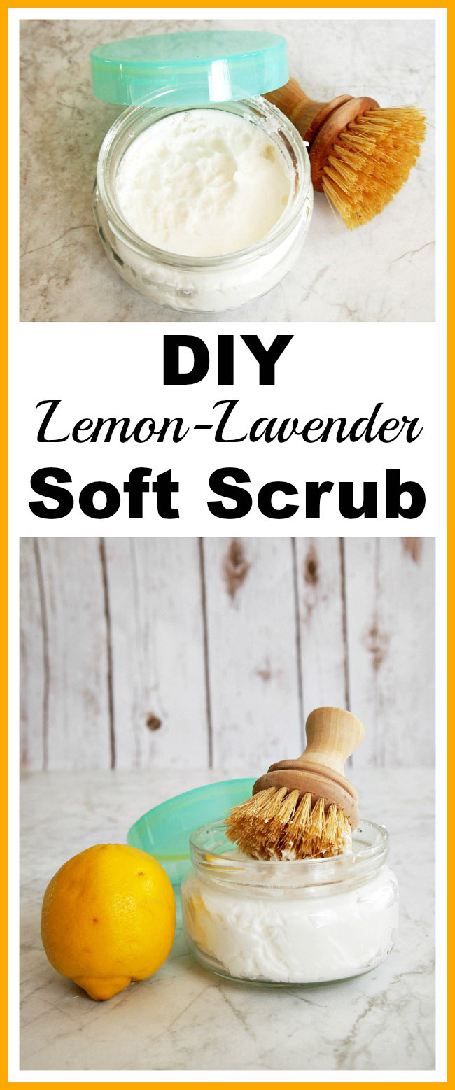 DIY All-Natural Soft Scrub Cleaner- You can make your sinks, countertops, tile, and grout shine without any chemicals! Just make this lemon-lavender DIY all-natural soft scrub cleaner! | homemade cleaning recipes, DIY cleaner, essential oils, make your own soft scrub, frugal living, save money, copycat soft scrub, cleaning