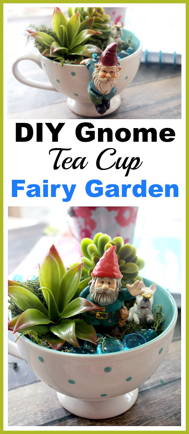 Gnome Tea Cup Fairy Garden- Need a cute decoration for your table or desk? Why not make this adorable DIY gnome tea cup fairy garden! It's easy (and inexpensive)! | DIY decor, gnome garden, cute fairy garden, faux succulents, dollar store, craft, DIY gift idea, homemade gift idea
