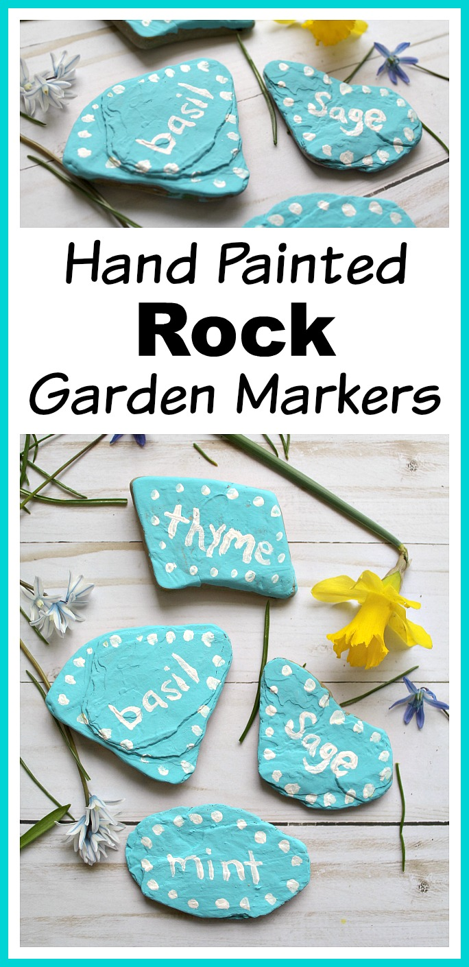 DIY Hand Painted Rock Garden Markers- Stop using boring plain garden markers! You can identify your plants and make your garden beautiful with these DIY hand painted rock garden markers! | gardening ideas, garden decor, garden decorations, herb markers, garden DIY, stone garden markers, summer DIY, spring DIY, easy craft
