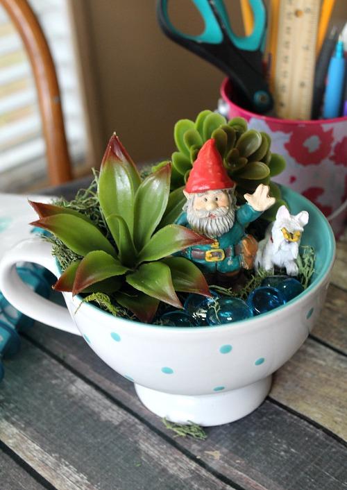 Gnome Garden: Gnome Tea Cup Fairy Garden- Cute DIY Table Decoration