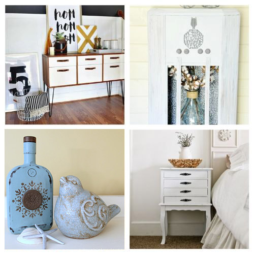 20 Chalk Paint DIY Projects- Chalk paint makes it easy to distress furniture and update your decor. Here are 20 original ways to decorate with chalk paint! | chalk paint furniture makeovers, bright decor, summer decor, frugal DIY project, chalk paint DIY project, #DIY #diyProject #chalkyPaint #decor #ACultivatedNest