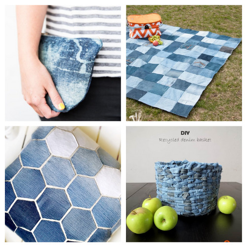20 Thrifty Repurposed Denim Projects- For some fun and frugal ways to recycle your old jeans and denim clothes, check out these upcycled denim projects! Many of these crafts would make great DIY gifts! | ways to use old jeans, how to use up old jeans, handmade gift, homemade gift, easy sewing, beginner sewing, repurpose, recycle, upcycling #upcycling #diyGift #beginnerSewing #DIY #ACultivatedNest