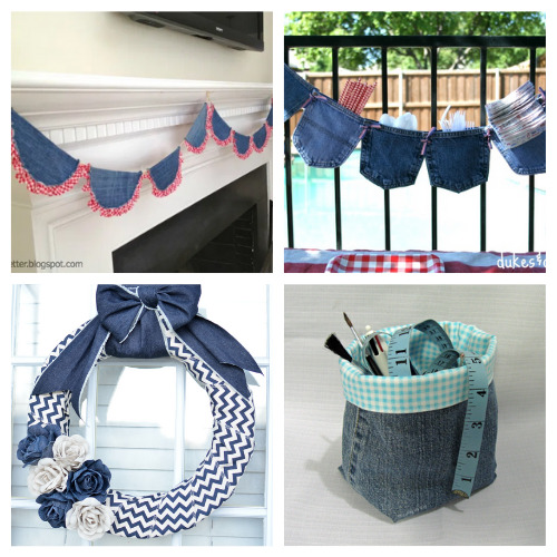 20 Ways to Use Old Denim- For some fun and frugal ways to recycle your old jeans and denim clothes, check out these upcycled denim projects! Many of these crafts would make great DIY gifts! | ways to use old jeans, how to use up old jeans, handmade gift, homemade gift, easy sewing, beginner sewing, repurpose, recycle, upcycling #upcycling #diyGift #beginnerSewing #DIY #ACultivatedNest