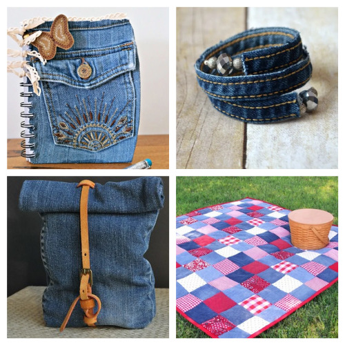 20 DIY Gifts to Make with Old Denim Clothes- For some fun and frugal ways to recycle your old jeans and denim clothes, check out these upcycled denim projects! Many of these crafts would make great DIY gifts! | ways to use old jeans, how to use up old jeans, handmade gift, homemade gift, easy sewing, beginner sewing, repurpose, recycle, upcycling #upcycling #diyGift #beginnerSewing #DIY #ACultivatedNest