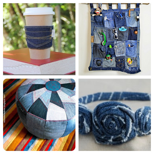 20 Thrifty Repurposed Denim DIY Projects- For some fun and frugal ways to recycle your old jeans and denim clothes, check out these upcycled denim projects! Many of these crafts would make great DIY gifts! | ways to use old jeans, how to use up old jeans, handmade gift, homemade gift, easy sewing, beginner sewing, repurpose, recycle, upcycling #upcycling #diyGift #beginnerSewing #DIY #ACultivatedNest