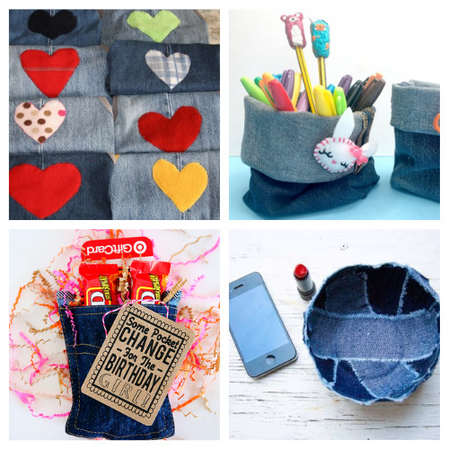 20 Ways to Use Old Jeans- For some fun and frugal ways to recycle your old jeans and denim clothes, check out these upcycled denim projects! Many of these crafts would make great DIY gifts! | ways to use old jeans, how to use up old jeans, handmade gift, homemade gift, easy sewing, beginner sewing, repurpose, recycle, upcycling #upcycling #diyGift #beginnerSewing #DIY #ACultivatedNest