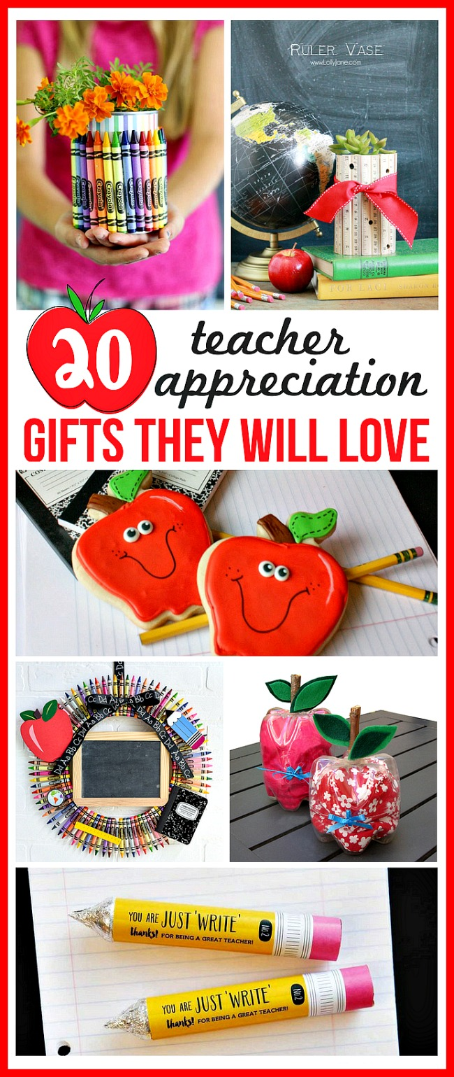 20 DIY Teacher Appreciation Gifts They Will Love- Show your kids' teachers how much they're appreciated with these DIY teacher appreciation gifts. Great for Teacher Appreciation Day or the end of the semester or school year!   homemade gift, handmade gift, DIY project, craft, fun teacher gift, Teacher's Day, presents for teachers