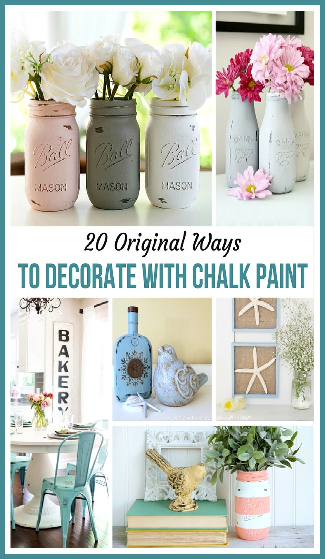 20 Original Ways to Decorate with Chalk Paint- If you want to update or distress furniture and decor, you have to check out these 20 gorgeous ways to decorate with chalk paint! | chalk paint DIY project, chalk paint furniture makeovers, bright decor, summer decor, frugal DIY project, #DIY #chalkPaint #decor #diyProject #ACultivatedNest