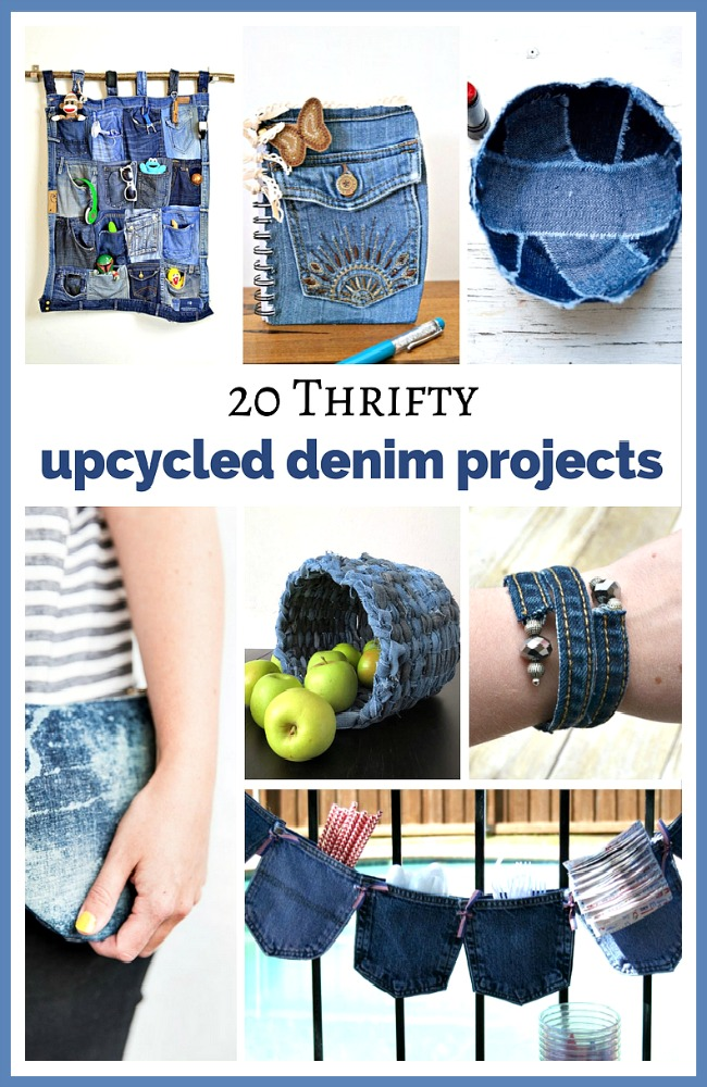 20 Thrifty Upcycled Denim Projects- Give your old jeans and denim clothes new uses with these thrifty upcycled denim projects! Many of these crafts would make great DIY gifts! | ways to use old jeans, how to use up old jeans, handmade gift, homemade gift, easy sewing, beginner sewing, repurpose, recycle, upcycling #upcycle #reuse #sewingProject #diyProjects #ACultivatedNest