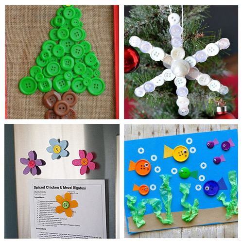 24 Fun Button Crafts for Kids - An easy way to keep kids busy at any time of year is with these fun button crafts for kids! These projects are inexpensive, not messy, and turn out great! | #ACultivatedNest