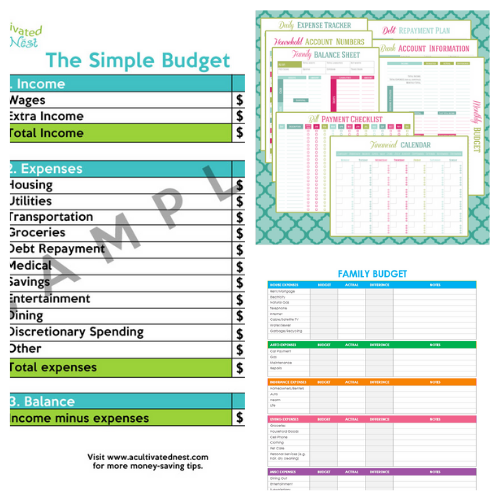 25 Free Budgeting Printables - Get better at budgeting and take control of your finances by using some of these free budgeting printables to fill your budget binder! #ACultivatedNest25 Free Budgeting Printables- An easy way to get your budget binder set up is with free printable budgeting forms! Here are some great ones to get you started keeping track of your finances! | Living on a budget, frugal living, budget binder, financial printables #waysToSaveMoney #moneySavingTips #budgeting #freePrintables #ACultivatedNest