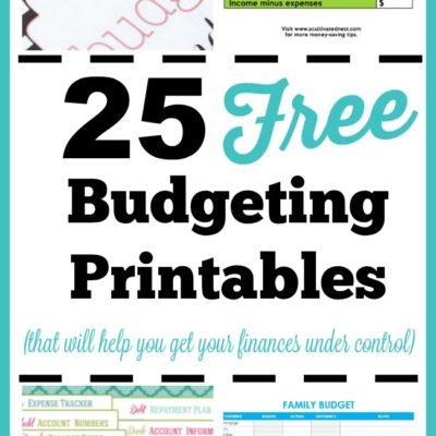 25 Free Budgeting Printables