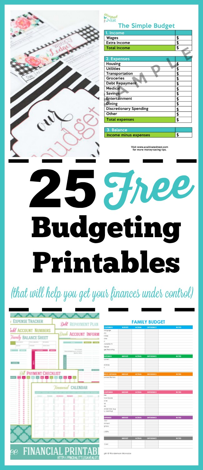 image regarding Free Budget Planner Printables called 25 Cost-free Budgeting Printables- Choose Take care of of Your Spending budget!