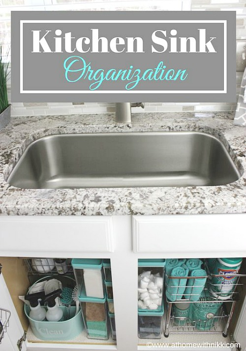 How To Organize Under The Kitchen Sink - fabulous ideas for tackling that hard to organize space! Kitchen organization, how to organize kitchen cabinets, under the sink, dollar store organizing ideas, organize cleaning products, reduce clutter