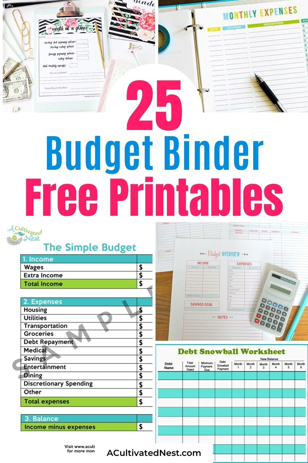 25 Free Budgeting Printables- If you want to start keeping track of your finances, you need a budget! These free printable budget worksheets are a great way to get started! | Living on a budget, frugal living, budget binder, financial printables #freePrintables #budget #moneySavingTips #financialPrintables #ACultivatedNest