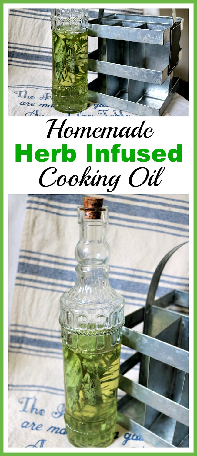 Homemade Herb Infused Cooking Oil- It's easy to make a homemade herb infused cooking oil! Follow this recipe using the cooking oil and herbs of your choice! It makes food so flavorful! | DIY cooking oil, olive oil, grapeseed oil, canola oil, avocado oil, cooking tips, home cooking