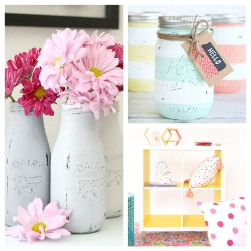 20 Original Ways to Decorate with Chalk Paint- Chalk paint makes it easy to distress furniture and update your decor. Here are 20 original ways to decorate with chalk paint! | chalk paint furniture makeovers, bright decor, summer decor, frugal DIY project, chalk paint DIY project, #DIY #diyProject #chalkyPaint #decor #ACultivatedNest