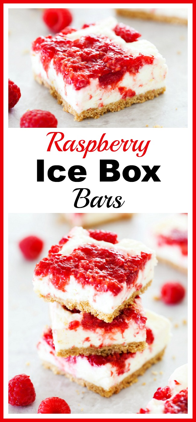 Raspberry Ice Box Bars- Take advantage of all the yummy, inexpensive fruit available during the summer and make this raspberry ice box bars dessert recipe! | fresh fruit, icebox recipe, easy recipe, summer dessert idea, red and white, raspberries