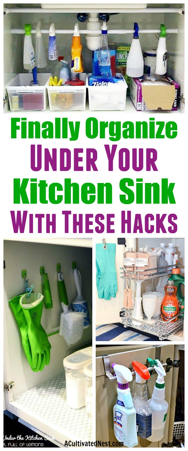 How To Organize Under the Kitchen Sink- Stumped on how to organize under the kitchen sink in your home? There are plenty of easy solutions out there! Have a look at these ideas for some great organizing tips! | Kitchen organization, how to organize kitchen cabinets, under the sink, dollar store organizing ideas, organize cleaning products, reduce clutter #organizing #organize #organization #kitchenOrganization