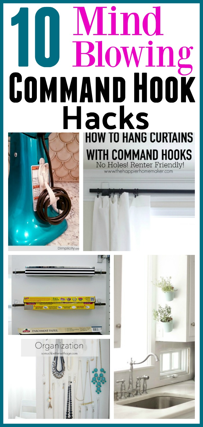 10 Mind Blowing Command Hook Hacks - Did you know that there are tons of ways to use Command Hooks besides the usual? Check out these 10 Command Hook hacks for some great inspiration! home organizing ideas, storage hacks, things to do with Command Hooks, Organizing with Command Hooks, How to Organize, Organization Hacks,
