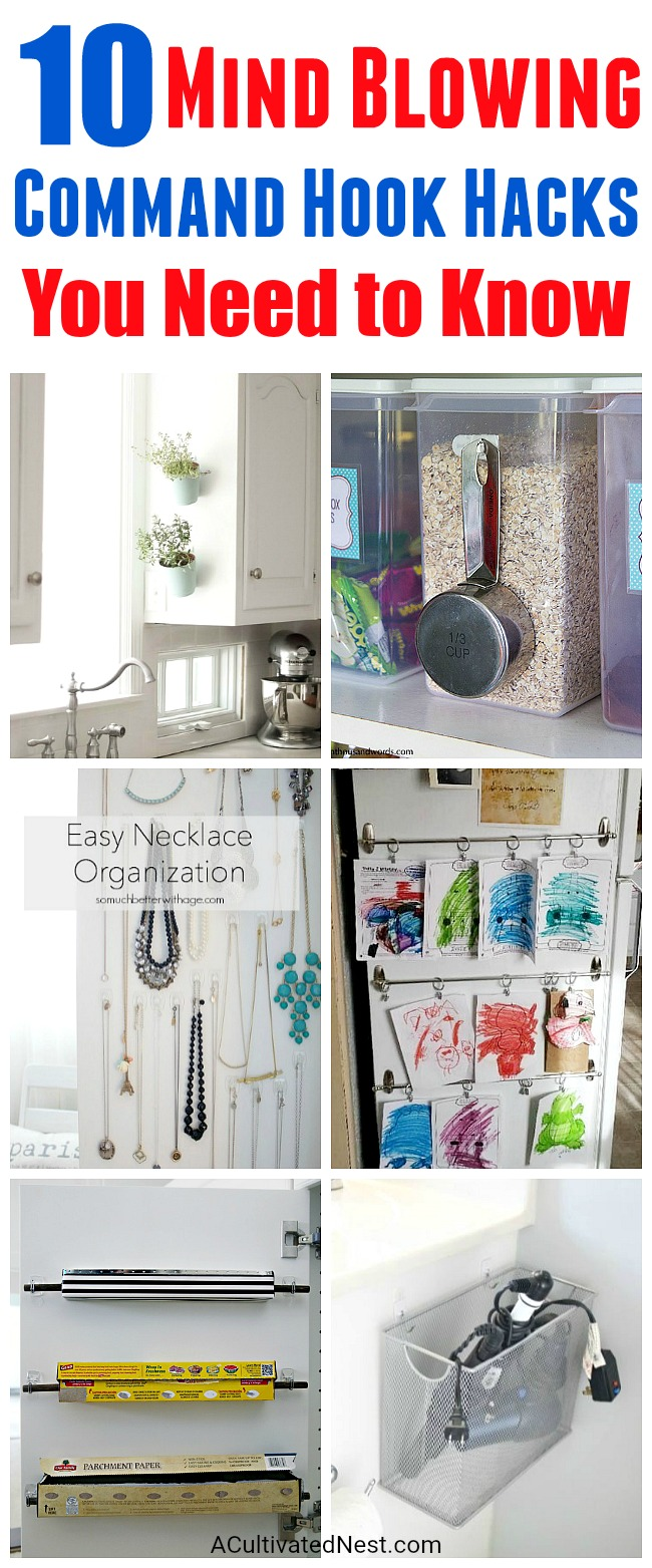 10 Mind Blowing Command Hook Hacks - Did you know that there are tons of ways to use Command Hooks besides the usual? Check out these 10 Command Hook hacks for some great inspiration! home organizing ideas, storage hacks, things to do with Command Hooks, Organizing with Command Hooks, How to Organize, Organization Hacks, Clutter Free Home #hacks #organize #organizing #organization