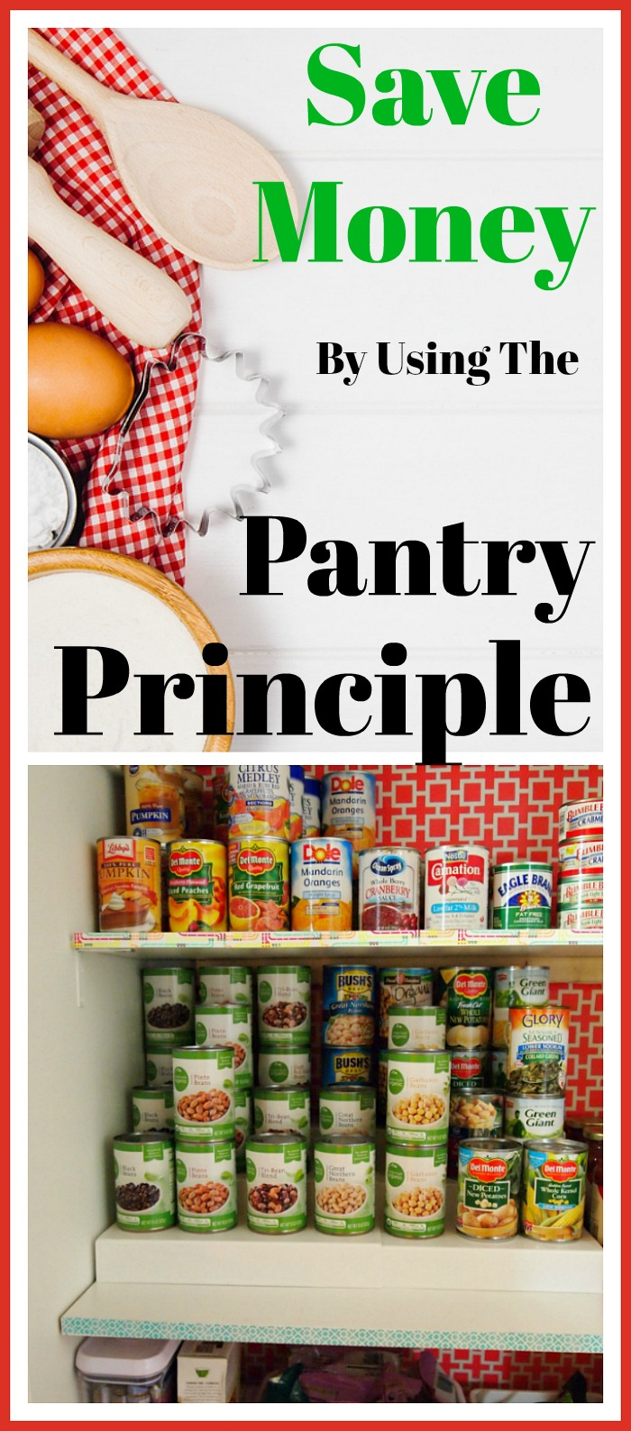 "Save money by using the ""Pantry Principle""- One of the key ways to save money is to control the dollars spent on your groceries. I use ""the pantry principle."" Here's how it works! Money saving tip, frugal living, how to save on groceries, The Tightwad Gazette, personal finance, living on a budget"