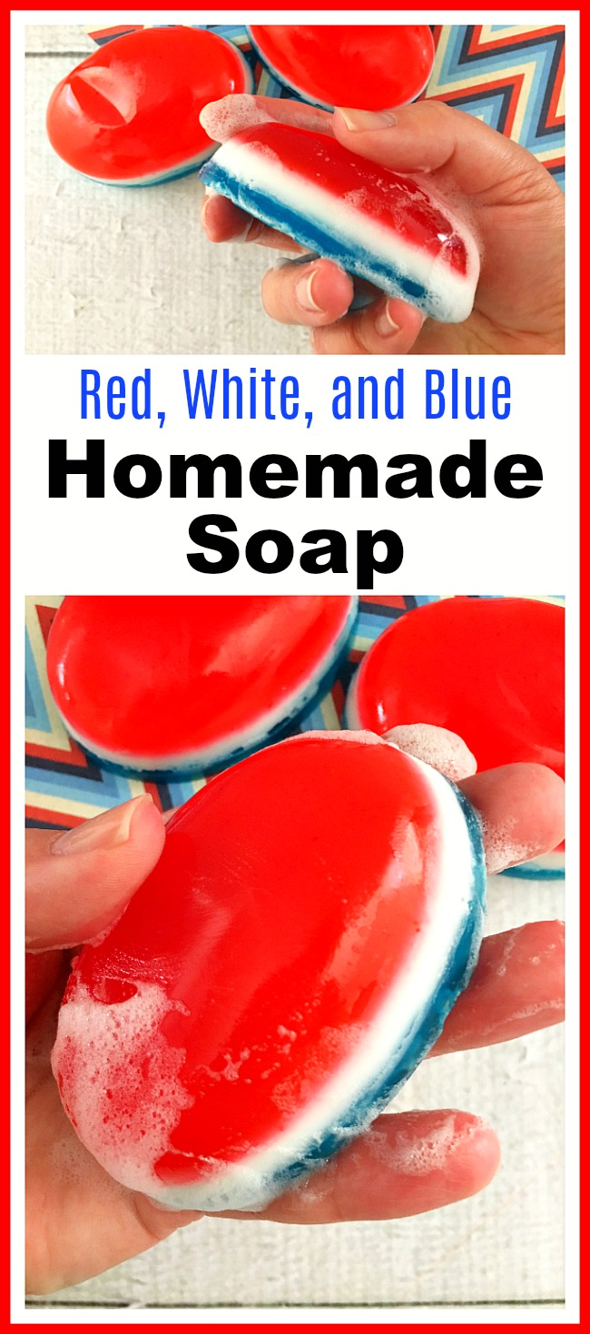 Red, White, and Blue Homemade Soap- It's easy to make your own moisturizing bar soap, colored and scented the way you like! Here's how I made this pretty red, white, and blue homemade soap! | DIY soap, soap making, soapmaking, Memorial Day, Fourth of July, Americana, diy gift ideas, hand soap, body soap, how to make your own bar soap