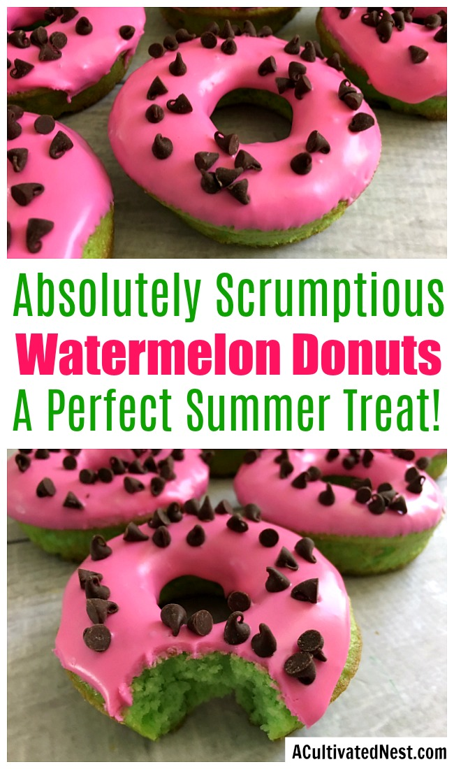 Watermelon Cake Donuts- These easy and delicious donuts have a fun watermelon look, making them perfect for summer! | dessert recipe, homemade donuts, summer desserts, summer party food ideas, #donuts #doughnuts #dessert #ACultivatedNest