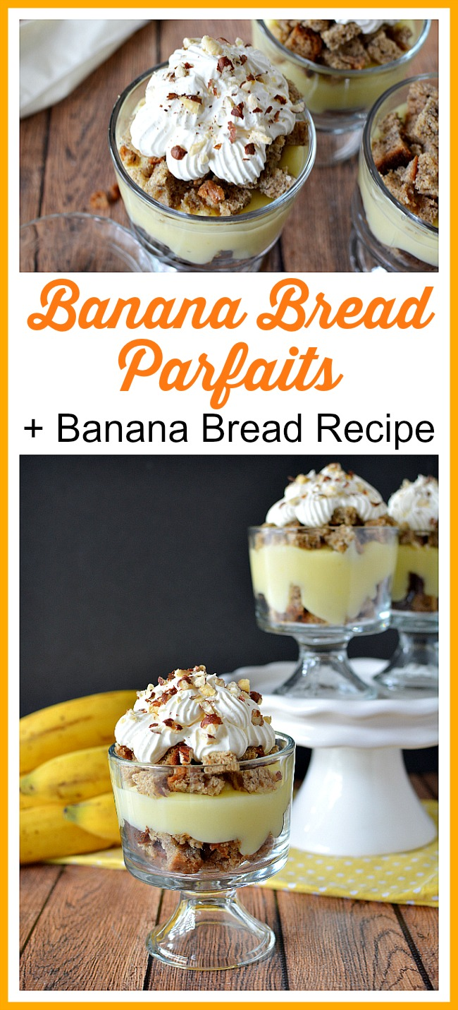 Banana Bread Parfaits + Homemade Banana Bread Recipe- You can't beat fresh, homemade banana bread! The only way to make it even better is to use it to make these delicious banana bread parfaits! | baking, food, dessert, snack, ways to use up brown bananas, use up old bananas, frugal baking