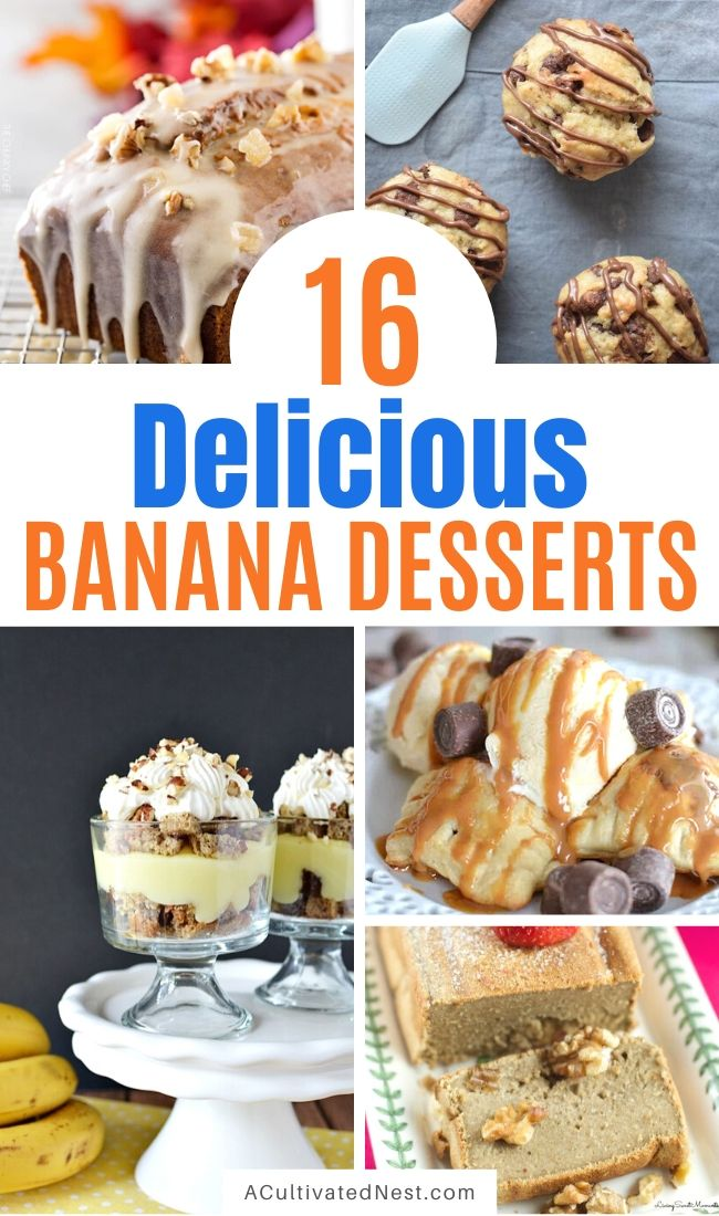 16 Delicious Ways to Enjoy Bananas- Instead of throw out old bananas, put them to use in these delicious banana dessert recipes! | what to do with brown bananas, ways to use up extra bananas, #bananas #recipe #dessert #baking #ACultivatedNest
