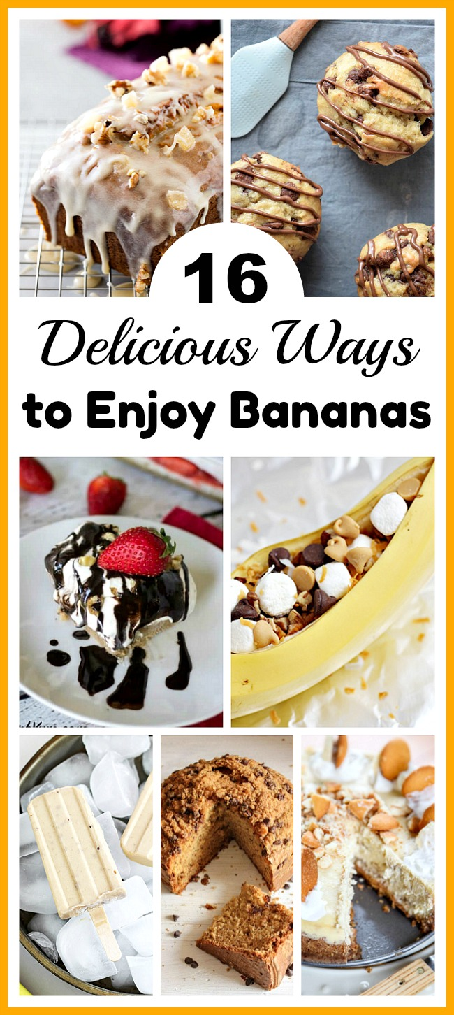 16 Delicious Ways to Enjoy Bananas- Don't throw out your bananas when they get old. Instead, use them in one of these delicious ways to enjoy bananas! There are so many tasty banana desserts! | banana bread, cake, muffins, popsicles, dessert, baking, food, cooking, ways to use up brown bananas