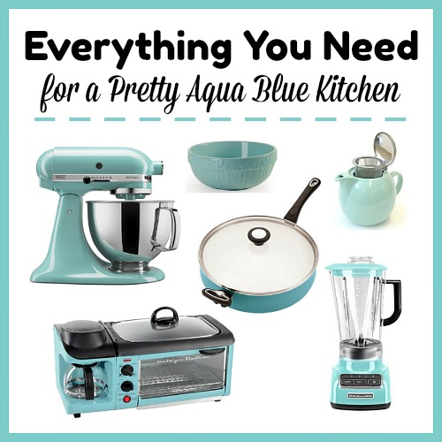 Everything You Need for a Pretty Aqua Blue Kitchen- Spending time in the kitchen is always more fun if you have cohesive decor. Check out these lovely items you can use to create a pretty aqua blue kitchen! | home decor, decoration, frugal kitchen update, aqua blue kitchen accessories, kitchen decorating ideas