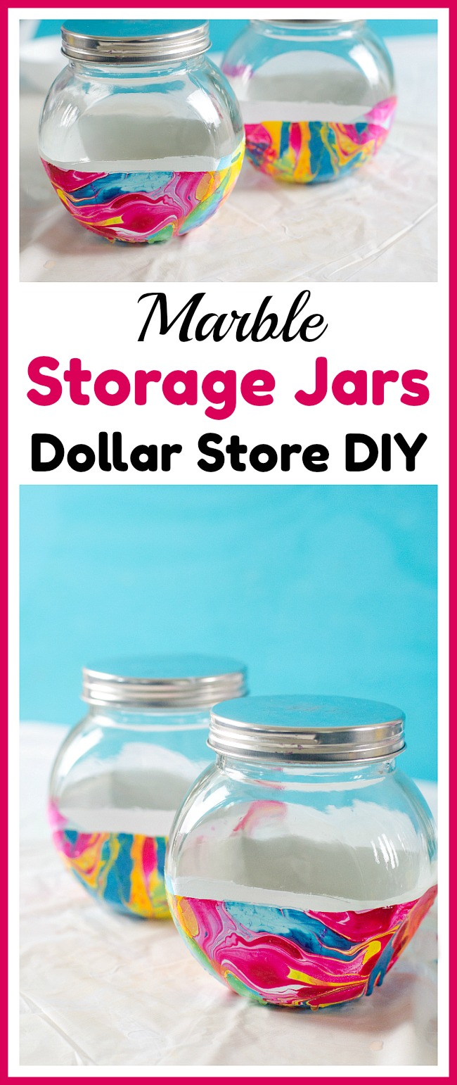 Marble Storage Jars Dollar Store DIY- Store bulk goods, candies, and more in style with these DIY marble storage jars! This easy project can be done with just dollar store supplies! | dollar store DIY, dollar store craft, dollar store organizing, painted jar, how to paint a glass jar, organization, organize