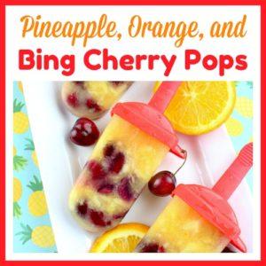 Pineapple, Orange, and Bing Cherry Pops