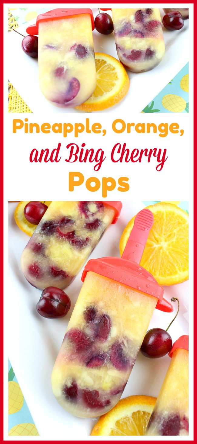Pineapple, Orange, and Bing Cherry Pops- Beat the summer heat with these delicious homemade pineapple, orange, and Bing cherry pops! These fruit popsicles are made with fresh cherries! | homemade ice pop, popsicle recipe, fresh fruit, healthy, no added sugar, cold dessert treat, summer food